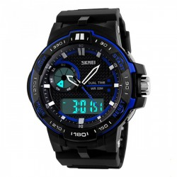 Latest Gadgets,50M Waterproof Dual Mode Chronograph Watch,blue,LGSKMSKMEIBLU-0004324 image here