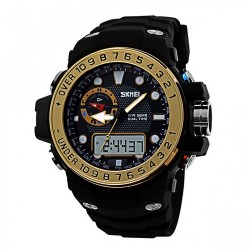 Latest Gadgets,50M Waterproof Dual Model Watch With Compass,gold,LGSKM01063GLD-0004307 image here