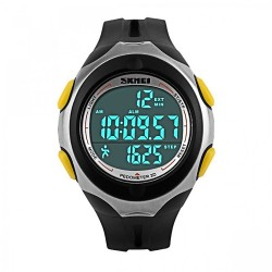 50M Waterproof Pedometer Watch With Stop Watch Timer - Yellow image here
