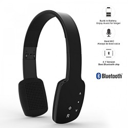AEC Smart HiFi Wireless Bluetooth Headphone With Touch Sensitive Control Panel - Black image here