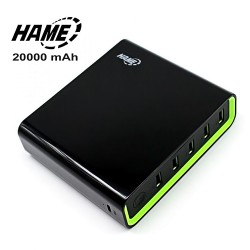 Hame 20000 mAh Super Power Bank With 5 USB Output Port And 2 Micro USB Charging Port - Black image here