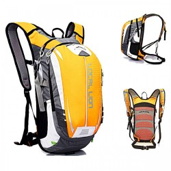 LOCAL LION Outdoor Cycling Travelling Backpack - Light Orange/ Grey image here