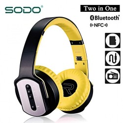 Latest Gadgets,Sodo MH2 Bluetooth 2 IN 1 Headphone with Flip-out Speaker,yellow,LGSDO00MH2YEL-0007066 image here