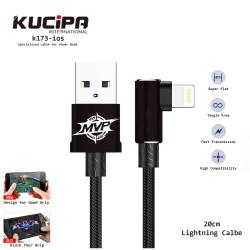 Latest Gadgets,Kucipa K173-ios Nylon Braided Elbow Type Lightning Data and Charging Line 20 cm,black,LGKUCK173iBLK-0007512 image here