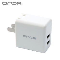 Onda A15 2.4A AC Adapter with Dual Usb Charging Port - White image here