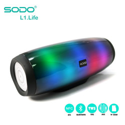 Latest Gadgets,SODO L1 LIFE TWS NFC Multifunction 5 in 1 Speaker With Light Effects,black,LGSDOL1LIFBLK-0007773 image here