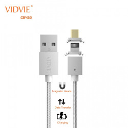 Vidvie CB420 2 in 1 Magnetic Micro USB and Lightning Fabric Braided Cable - Silver image here