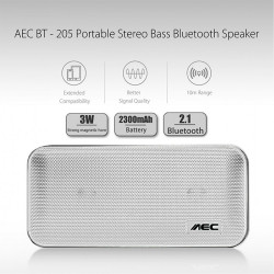 AEC Portable Stereo Bass Bluetooth Speaker With Built In 2600 MAH Powerbank - Silver image here