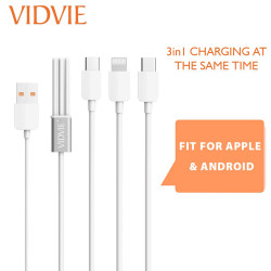 Latest Gadgets,Vidvie 30cm CB414 3 in 1 Charging Cable,white,LGVDVCB414WHT-0007770 image here