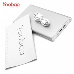 YOOBAO 20,000MAH SLIM POLYMER POWERBANK WITH MICRO AND LIGHTNING INPUT PORT - SILVER image here