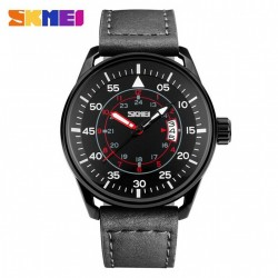 SKMEI 9113CL CASUAL MEN LEATHER STRAP WATCH - BLACK image here