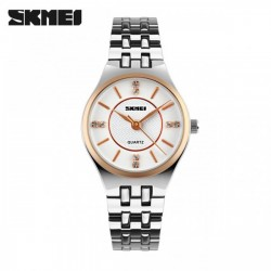 SKMEI 1133 WATER RESISTANT STAINLESS WATCH - WHITE image here