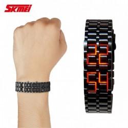 SKMEI 8061 ORANGE LED ALLOY WATCH - BLACK image here