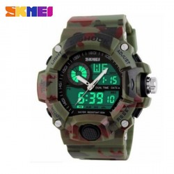SKMEI 1029 5ATM DUAL MODEL DIGITAL ANALOG ARMY DIGITAL LED WATCH - CAMOUFLAGE GREEN image here