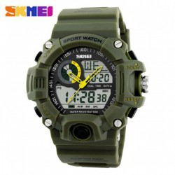 SKMEI 1029 5ATM DUAL MODEL DIGITAL ANALOG ARMY DIGITAL LED WATCH - GREEN image here