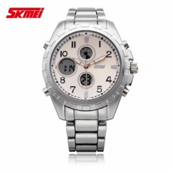 SKMEI 1021 DUAL TIME STAINLESS WATCH - WHITE image here