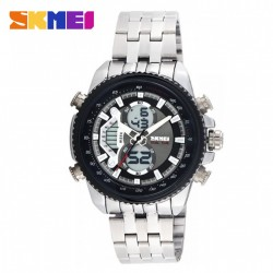Latest Gadgets,SKMEI 0993 3ATM DUAL MODE DIGITAL ANALOG STAINLESS WATCH,black,LGSKM00993BLK-0006272 image here