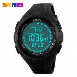 SKMEI 1232 30M WATERPROOF DIGITAL WATCH WITH COMPASS - BLACK image here