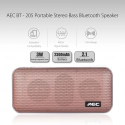 AEC PORTABLE STEREO BASS BLUETOOTH SPEAKER WITH BUILT IN 2600 MAH POWERBANK - ROSE GOLD image here