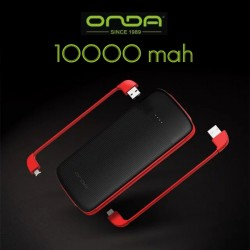 ONDA M100S 10000MAH QUICK CHARGE POWERBANK SLIM EXTERNAL BATTERY PACK WITH MICRO USB / LIGHTNING / TYPE-C CABLE image here