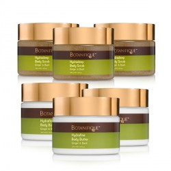 3 PCS HYDRADEEP BODY SCRUB GINGER & BASIL AND 3 PCS HYDRAFINE BODY BUTTER GINGER & BASIL image here