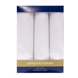 Armando Caruso,PLAIN WHITE HANDKERCHIEF SET, WHITE image here