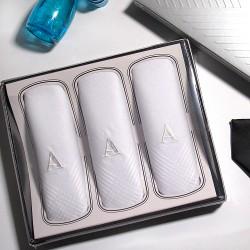 Armando Caruso, Monogram Handkerchief Set, White, MMONO-A image here