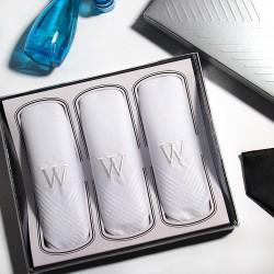 Armando Caruso, Monogram Handkerchief Set, White, MMONO-W image here
