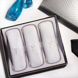 Armando Caruso, Monogram Handkerchief Set, White, MMONO-Y image here