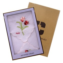 Embroidered Cotton Handkerchief with Scallop image here