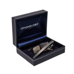 Armando Caruso,CUFFLINKS AND TIE CLIP SET, Silver, CUFF-3 image here