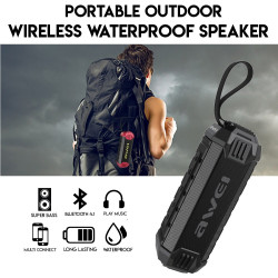 Awei, Y280 portable drop proof IPX7 waterproof bluetooth speaker with Power Bank (black),black,y280-blk image here
