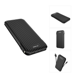 Awei, P80K 10000mAh Power Bank Battery USB Port Lightning Micro Type-C Cable,black,awei-p80k-blk image here