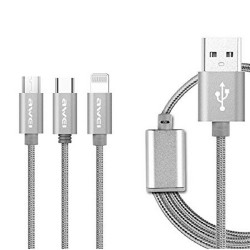 Awei, CL-970 3 In 1 Charging Cable Lightning, Micro-USB and Type-C Data Charging Cable, grey, cl970-gry image here