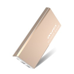 Awei P92K 10000mAh Smart Polymer Power Bank with Dual USB Port - gold image here