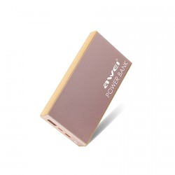 Awei P93k 10,000mAh Portable Polymer Power Bank with Type-C Interface - rose gold image here