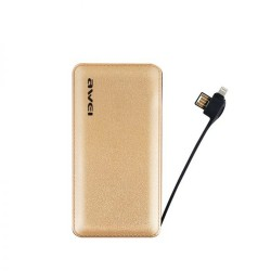 Awei P97K 8000mAh Smart and 2.1A Quick Charge Power Bank with Cable - gold image here