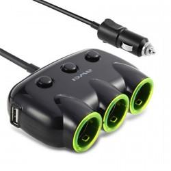 Awei, C-3S 2 USB 3 Socket Cigarette Car Lighter Power Adapter - black,black,awei-c3s-blk image here
