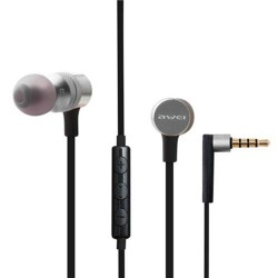 AWEI ES-20TY HiFi Music Wired Earphones with Microphone 3.5MM Plug - silver image here
