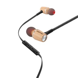 Awei ES-80TY Universal 3.5mm wooden in-ear wired earphone - silver image here