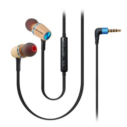 Awei ES-80TY Universal 3.5mm wooden in-ear wired earphone - blue image here