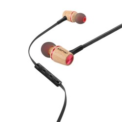 Awei ES-80TY Universal 3.5mm wooden in-ear wired earphone - red image here