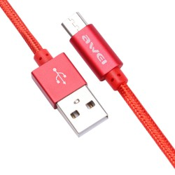 Awei CL - 10 Micro USB Mini Nylon Braided Charge Data Transfer Cable 0.3m - red image here