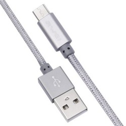 Awei CL - 10 Micro USB Mini Nylon Braided Charge Data Transfer Cable 0.3m - gray image here