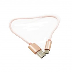 Awei CL-85 Type-C USB Cable Mini Nylon Braided Fast-Charging Data Cable - rose gold image here