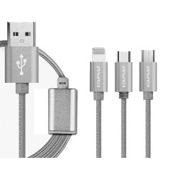Awei CL- 970 1.2M 3 in 1 Nylon Braided Micro USB + Type-C + 8 Pin Charging Connector Data Cable - gray image here