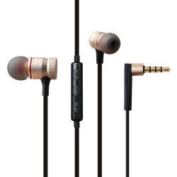 Awei ES-70TY 3.5mm Aux Audio In-Ear Earphone Metal Heavy Bass Sound Music Headset With Mic - Gold image here