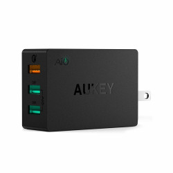 Aukey,3-PORT WALL CHARGER WITH QUICK CHARGE 3.0 - BLACK,PA-T14 image here