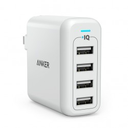 PowerPort 4 40W 4-Port Foldable Wall Charger for US Wht image here