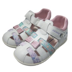 Dr Kong Kids Casual Flat Sandals Soft Sole for Girls White Pink Floral Design Anti-Slip PU Arch Support Insole Walk-Stable-Shoe 2-4 years old image here